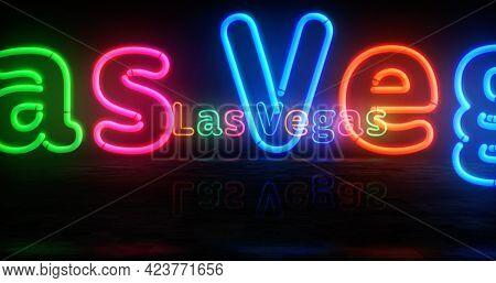 Las Vegas City Symbol Neon Light 3D Illustration