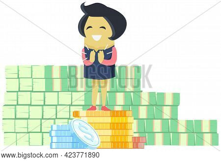 Smiling Girl Standing On Pile Of Gold Coins. Metaphor For Growth And Making Money. Rich Woman Enjoyi