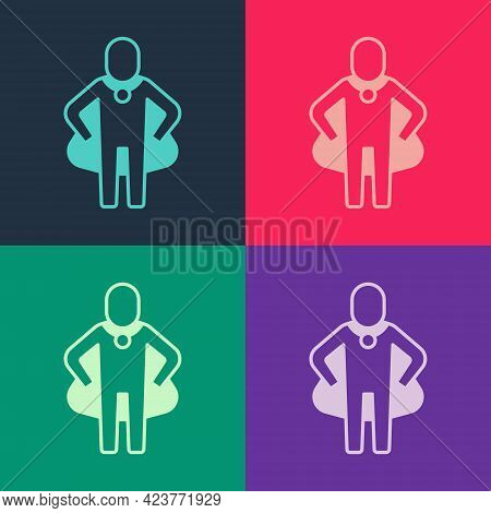 Pop Art Head Hunting Icon Isolated On Color Background. Business Target Or Employment Sign. Human Re