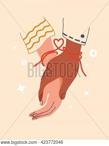 Red Thread Of Fate Tied Kindred Spirits Or Soulmate. Symbol Of Eternal Love Or Friendship. Eastern P
