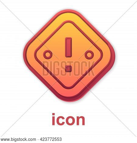 Gold Exclamation Mark In Triangle Icon Isolated On White Background. Hazard Warning Sign, Careful, A