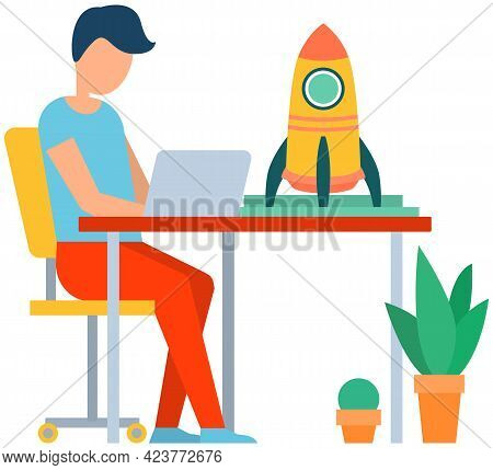 Man Working On Business Startup. Man With Laptop Works With Information. Guy Creates New Business Pr