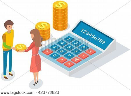 Pay Check, Salary Income, Financial Success Concept. People Counting Budget On Calculator. Girl With