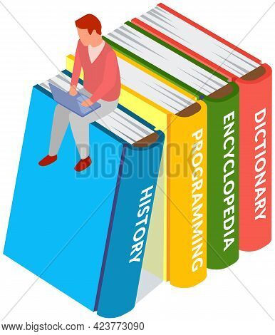 Books In Your Laptop Concept. Young Man Love To Read Sitting On Stack Of Large Books And Using His C