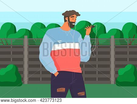 Man In Headphones With Smartphone Is Listening To Voice Message. Male Character Using Mobile Device