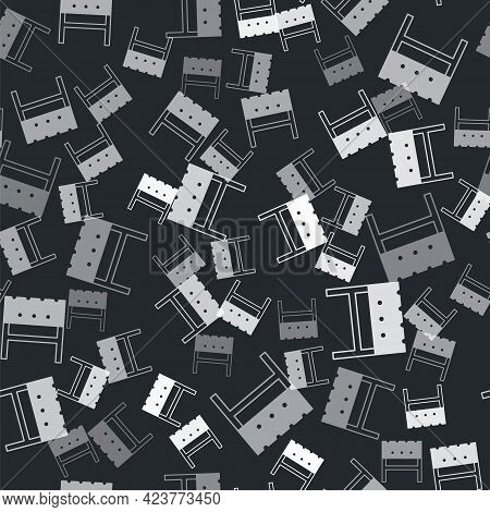 Grey Bbq Brazier Icon Isolated Seamless Pattern On Black Background. Vector