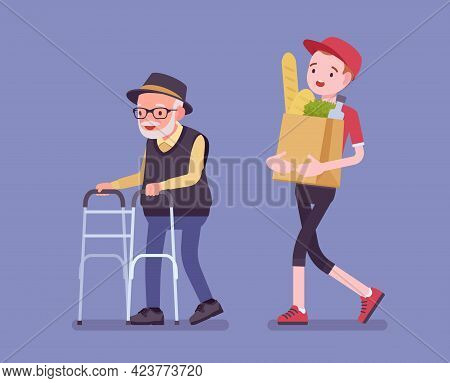 Senior With Walker, Aged Handicapped Man And Male Volunteer Helping. Elderly Citizen Social Support,