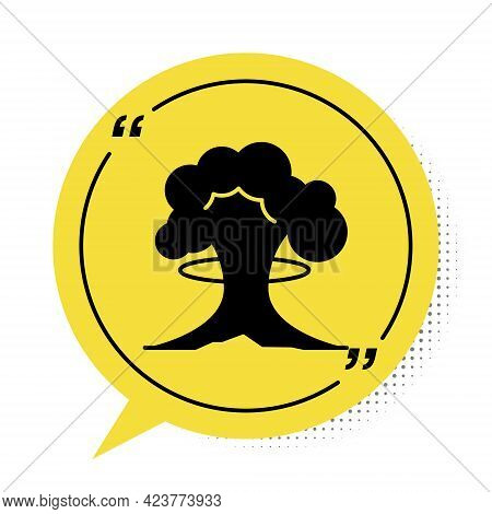 Black Nuclear Explosion Icon Isolated On White Background. Atomic Bomb. Symbol Of Nuclear War, End O