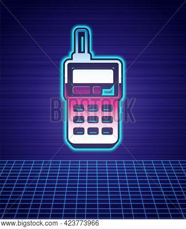 Retro Style Walkie Talkie Icon Isolated Futuristic Landscape Background. Portable Radio Transmitter