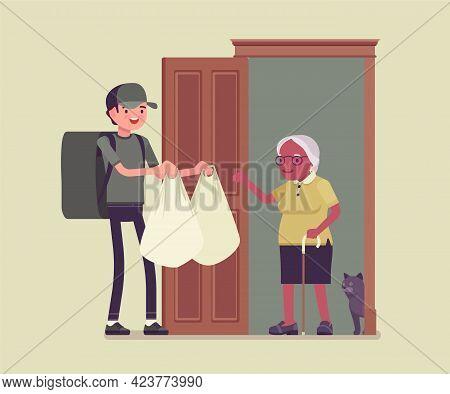 Senior People Social Support, Older Adult Care, Home Food Delivery Service. Assistance, Volunteer He