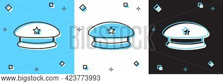 Set Military Beret Icon Isolated On Blue And White, Black Background. Soldiers Cap. Army Hat. War Ba