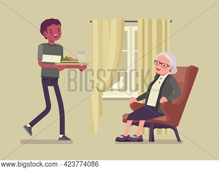 Caregiving Elderly People, Young Man Helping Senior Woman At Home. Older Adult Care, Volunteer Nursi