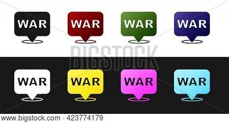 Set The Word War Icon Isolated On Black And White Background. International Military Conflict. Army.