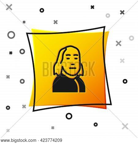 Black Benjamin Franklin Icon Isolated On White Background. Yellow Square Button. Vector