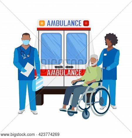 Paramedics Assist A Patient In An Ambulance. The Patient Is Connected To A Ventilator. Thanks To The