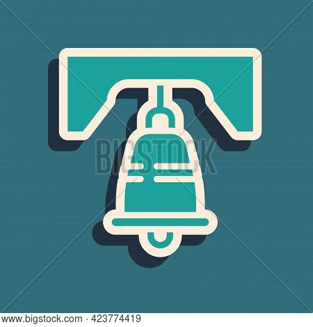 Green Liberty Bell In Philadelphia Icon Isolated On Green Background. Long Shadow Style. Vector