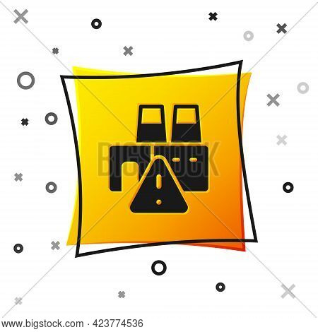 Black Shutdown Of Factory Icon Isolated On White Background. Industrial Building. Yellow Square Butt