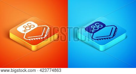 Isometric Computer Processor With Microcircuits Cpu Icon Isolated On Orange And Blue Background. Chi