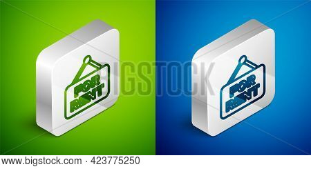 Isometric Line Hanging Sign With Text For Rent Icon Isolated On Green And Blue Background. Signboard