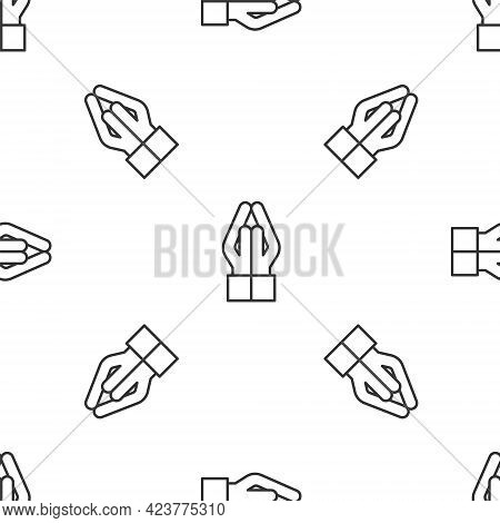 Grey Line Hands In Praying Position Icon Isolated Seamless Pattern On White Background. Prayer To Go