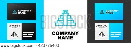 Blue Line Chichen Itza In Mayan Icon Isolated On White Background. Ancient Mayan Pyramid. Famous Mon