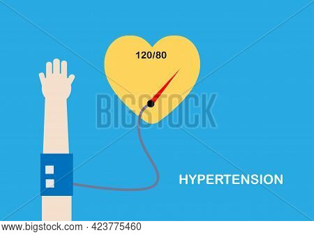 Illustration Of Heart And Blood Pressure Measurement Over Normal. Concept Of Hypertension.