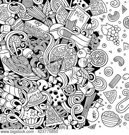 Cartoon Vector Doodles Italian Food Frame. Sketchy, Detailed, With Lots Of Objects Background. All O