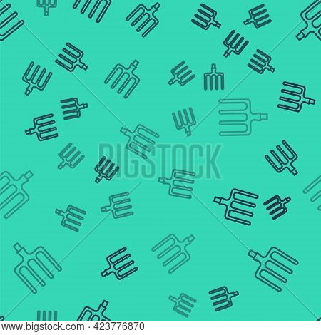 Black Line Garden Pitchfork Icon Isolated Seamless Pattern On Green Background. Garden Fork Sign. To
