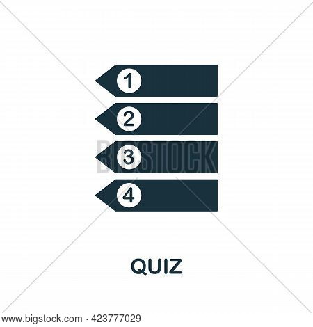 Quiz Icon. Simple Creative Element. Filled Monochrome Quiz Icon For Templates, Infographics And Bann