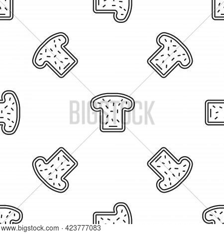 Grey Line Bread Toast For Sandwich Piece Of Roasted Crouton Icon Isolated Seamless Pattern On White