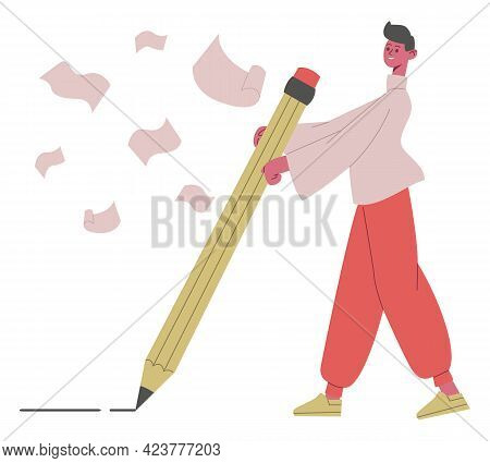 Copywriter Character. Male Writer, Journalists Or Blogger Writing With Big Pencil Vector Illustratio