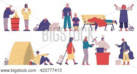 Homeless Characters. Poor, Unemployment Beggar Characters, Hungry And Dirty People Cartoon Vector Il