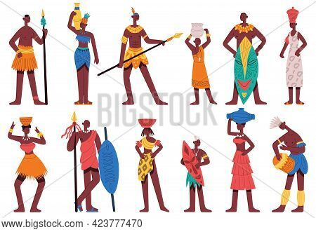 African People. Male And Female Characters In Traditional Tribal Clothes Isolated Cartoon Vector Ill
