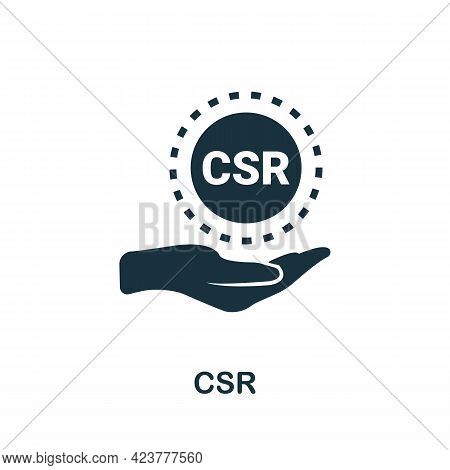 Csr Icon. Simple Creative Element. Filled Monochrome Csr Icon For Templates, Infographics And Banner