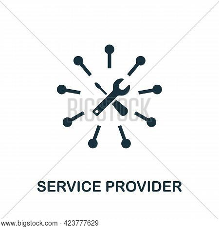 Service Provider Icon. Simple Creative Element. Filled Monochrome Service Provider Icon For Template