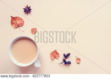 A Cup Of Hot Coffee Or Tea On Pastel Background.
