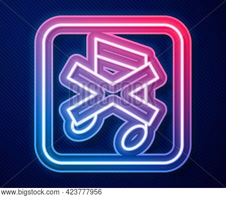 Glowing Neon Line Speaker Mute Icon Isolated On Blue Background. No Sound Icon. Volume Off Symbol. V