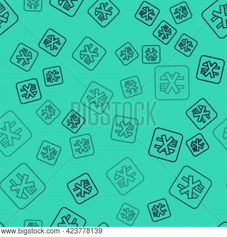 Black Line Ramadan Fasting Icon Isolated Seamless Pattern On Green Background. Religious Fasting. Ve