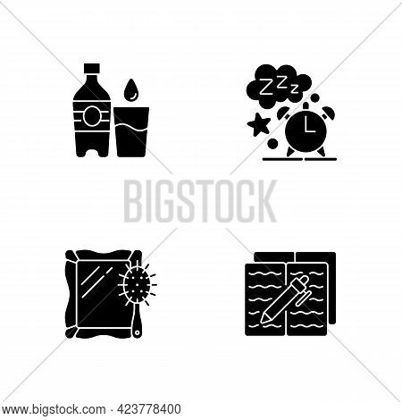 Daily Schedule And Routine Black Glyph Icons Set On White Space. Watter Bottle. Sleep Time. Alarm Cl