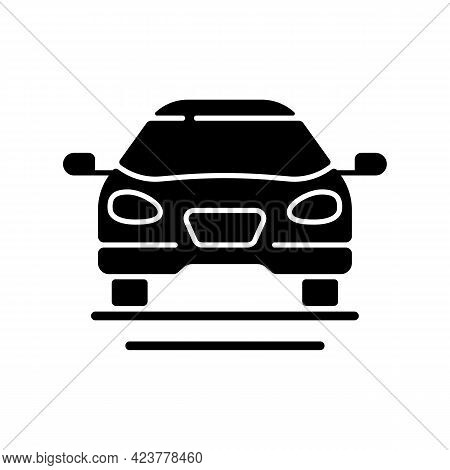 Sedan Car Black Glyph Icon. Fast Personal Transport. Hybrid Auto For Family Trips. Front Of Auto. Au