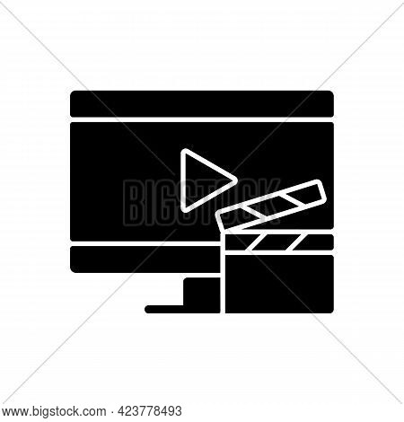 Watching Tv Black Glyph Icon. Television Show Broadcast. Movie On Screen. Home Appliance. Everyday R