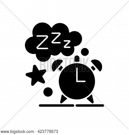 Sleep Time Black Glyph Icon. Alarm Clock. Watch Dial With Nighttime. Countdown To Morning Wake Up. N