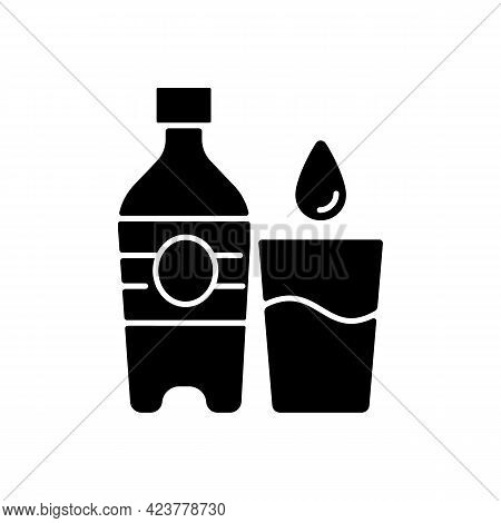 Water Black Glyph Icon. Hydration For Fitness. Fluids To Avoid Thirst. Water Bottle To Prevent Dehyd