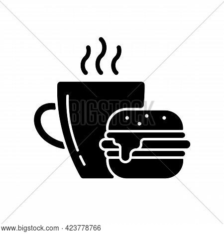 Lunch Black Glyph Icon. Burger And Drink In Cup. Coffee Mug With Sandwich For Dinner. Dining At Cafe