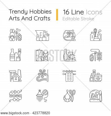 Trending Hobbies Linear Icons Set. Home Business. Boho Style. Craft Activity. Creative Reuse. Home D
