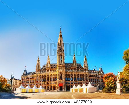 Rathaus (Cityhall) in Vienna Austria on a sunny day. The Rathaus serves as the seat both of the mayor and city council of the city of Vienna. poster