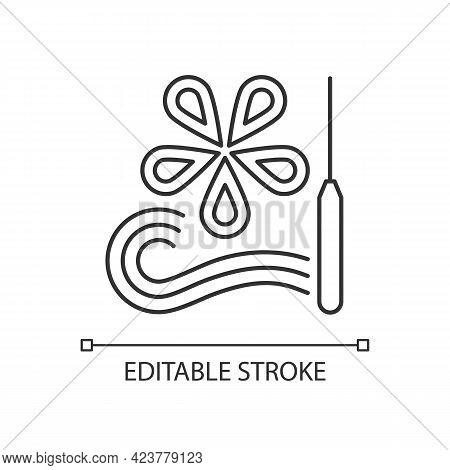 Paper Quilling Linear Icon. Creating Decorative Designs. Using Slotted Tool. Paper Filigree. Thin Li