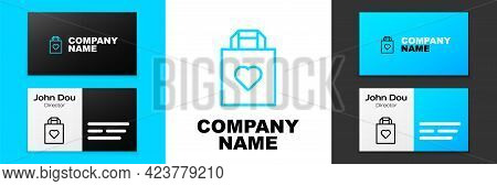 Blue Line Shopping Bag With Heart Icon Isolated On White Background. Shopping Bag Shop Love Like Hea