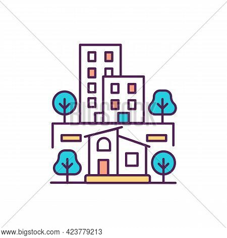 Rural And Urban Areas Rgb Color Icon. Cities And Suburbs. Residential Environment. Isolated Vector I
