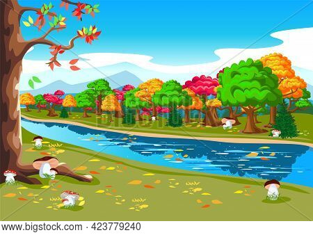 Beautiful Autumn Landscape With A River, Forest, Mushrooms And Falling Leaves. Bright Horizontal Ill